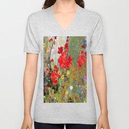 Red Geraniums in Spring Garden Landscape Painting Unisex V-Neck