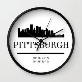 PITTSBURGH PENNSYLVANIA BLACK SILHOUETTE SKYLINE ART Wall Clock