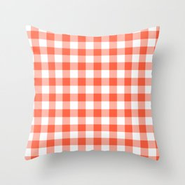 Jumbo Living Coral Color of the Year Orange and White Buffalo Check Plaid Throw Pillow