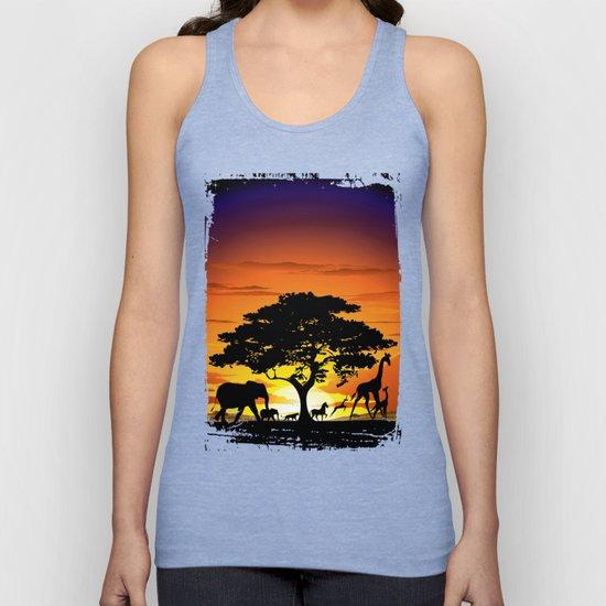 Wild Animals on African Savanna Sunset by bluedarkatlem