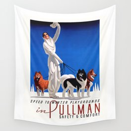 1935 Pullman Speed To Winter Playgrounds Train Travel Poster Wall Tapestry