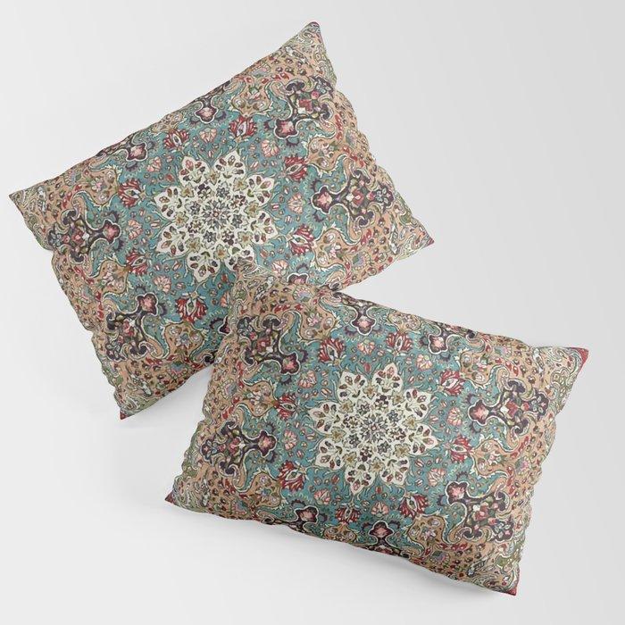 Antique Red Blue Black Persian Carpet Print Kissenbezug