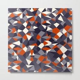 Fragmented geometrics - orange and grey shades Metal Print