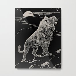The animal story book Andrew Lang - 1904 Black & White Ink Lion Magical Mystical Animal Art Metal Print