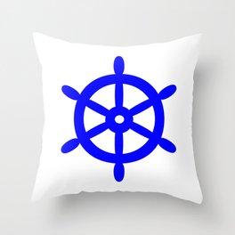 Ship Wheel (Blue & White) Throw Pillow