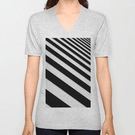 Perspective Solid Lines - Black and White Stripes - Digital Illustration - Artwork Unisex V-Neck