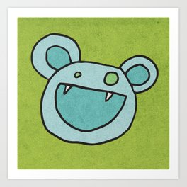 Slightly Amused Monsters, V Blue Art Print