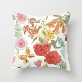 Dahlias and Floral Snippets Throw Pillow