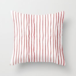 Hand painted modern abstract red geometrical stripes Throw Pillow