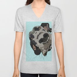 Great Dane in your face (teal) Unisex V-Neck