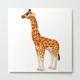 Cute giraffe. Vector graphic character Metal Print
