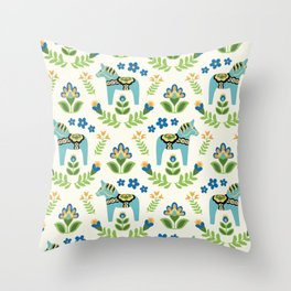 Swedish Dala Horses Teal Throw Pillow