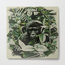 Animal ArtStudio 22516 Gorilla Baby Metal Print