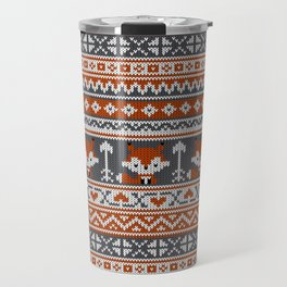 Fair Isle Fox - Reddish and Gray Travel Mug