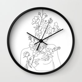 Minimal Line Art Woman with Wild Roses Wall Clock