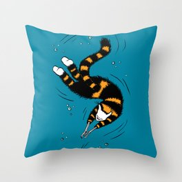 Weird Cat With Bone Hands Swimming Happily Throw Pillow