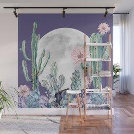 Desert Cactus Full Moon Succulent Garden on Purple Wall Mural