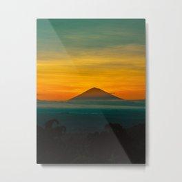 Mountain Volcano Sunset Colors Green Orange Metal Print