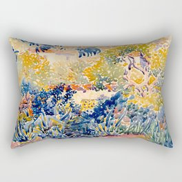 """Henri-Edmond Cross """"The Artist's Garden at St. Clair"""" Rectangular Pillow"""