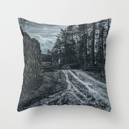 Poltery Site (Wood Storage Area) After Storm Victoria Möhne Forest 5 dark Throw Pillow