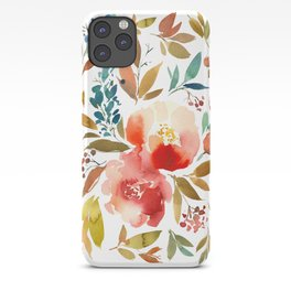 Red Turquoise Teal Floral Watercolor iPhone Case