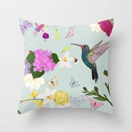 Hummingbird and flowers. Hydrangea, vanilla, fuchsia and butterflies Throw Pillow
