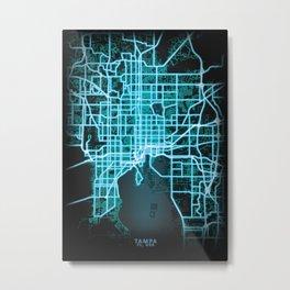 Tampa, FL, USA, Blue, White, Neon, Glow, City, Map Metal Print