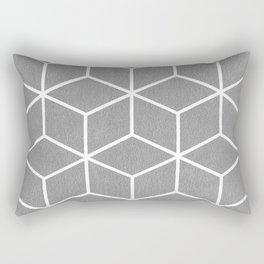 Light Grey and White - Geometric Textured Cube Design Rectangular Pillow