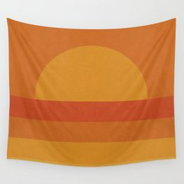 Retro Geometric Sunset Wall Tapestry