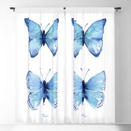 Two Blue Butterflies Watercolor Blackout Curtain