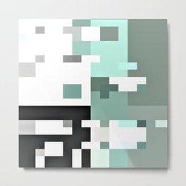 mint petrol white grey green abstract geometric pattern Metal Print