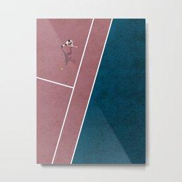 Tennis Player | Aerial Illustration Metal Print