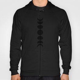 Minimal Moon Phases - Black and White Hoody