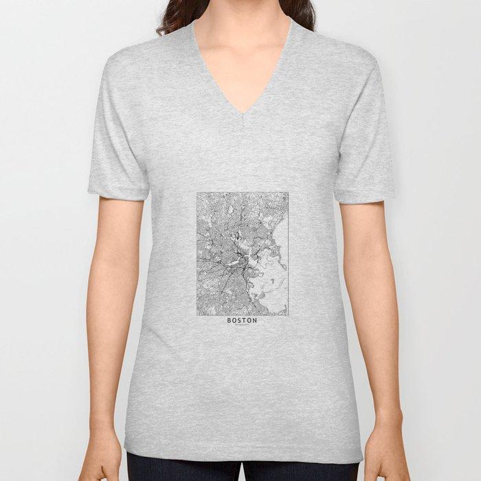 Boston White Map Unisex V-Neck