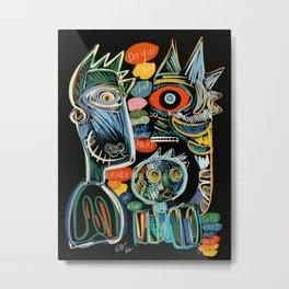 Graffiti Art Creatures Rainbow Colors and Words  Metal Print