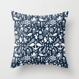 Nautical Silhouettes (White on Navy Blue) Throw Pillow