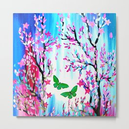 Butterflies and Cherry Blossom Metal Print