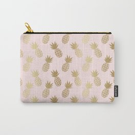 Pink & Gold Pineapples Pattern Carry-All Pouch