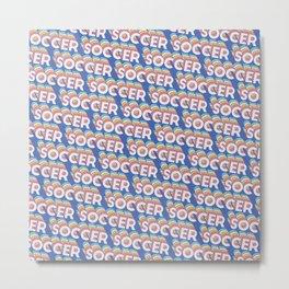 Soccer Trendy Rainbow Text Pattern (Blue) Metal Print