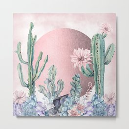 Desert Sun + Gemstones Rose Gold Pink Watercolor Metal Print