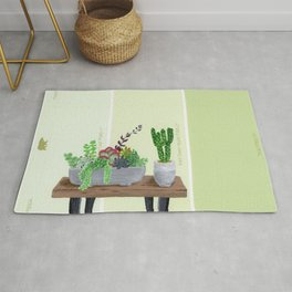 Cacti and Succulents on Greens Rug