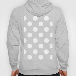 Large Polka Dots - White on Light Gray Hoody