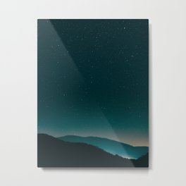 Minimalist Landscape Photography Night Sky Turquoise Teal Mountains Metal Print