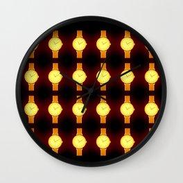 Luminous Wristwatches on Black Illustration Wall Clock