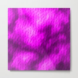 Line texture of magenta oblique dashes with a luminous intersection on a luminous charcoal. Metal Print