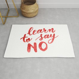 Learn to say no - orange Rug