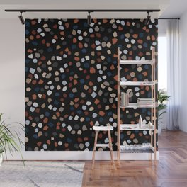 Terrazzo Inkwell Blue & Rust Dots on Black_abstract oil painting Wall Mural