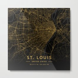 St. Louis, United States - Gold Metal Print