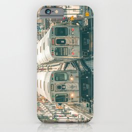 Two El Trains Above Wabash in Chicago Train Subway Elevated iPhone Case