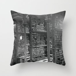 A Book Lover's Dream - Cast-iron Book Alcoves of Old Cincinnati Public Library Throw Pillow